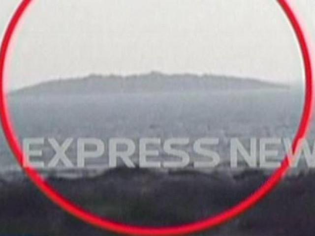 نمودار ہونے والا جزیرہ گوادر کے ساحل سے ڈیرھ کلومیٹر دورہے۔ فوٹو: ایکسپریس نیوز