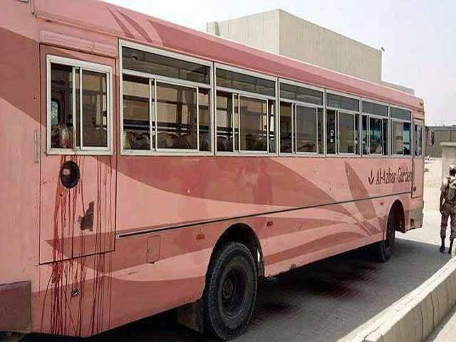 14 مئی 2015 کو صفورا گوٹھ میں اسماعیلی برادری کی بس پر حملے میں 43 افراد جاں بحق ہوئے تھے۔ فوٹو؛ فائل
