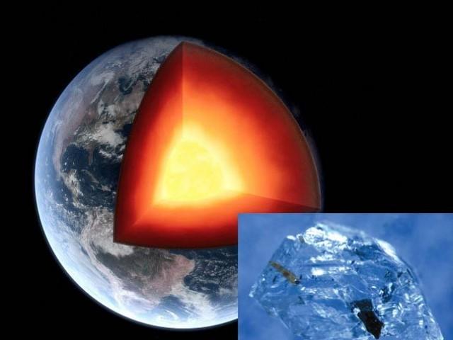مرکزی تصویر میں زمین کا تصوری خاکہ ہے جس میں اوپر قشر (کرسٹ) پیلا حصہ مینٹل اور عین مرکز میں قلب ( کور) نمایاں ہیں جبکہ چھوٹی تصویر برازیل سے ملنےوالے ہیرے کی ہےجو ایک بہت بڑی دریافت ہے۔ فوٹو: بشکریہ نیوسائنٹسٹ