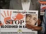 مظاہرین نے مقبوضہ کشمیر میں بھارت کی جانب سے انسانی حقوق کی خلاف ورزیوں پر بھی مودی سرکار کو شدید تنقید کا نشانہ بنایا. فوٹو: سوشل میڈیا