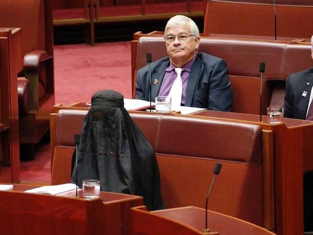 خاتون سینیٹر پالین ہینسن کو اس حرکت پر اپنی ہی سیاسی جماعت کی طرف سے شدید تنقید کا سامنا ہے۔ (فوٹو: اے اے پی)