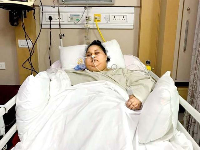 مصر سے تعلق رکھنے والی ایمان احمد ابوظہبی کے اسپتال میں زیر علاج تھیں فوٹو : فائل