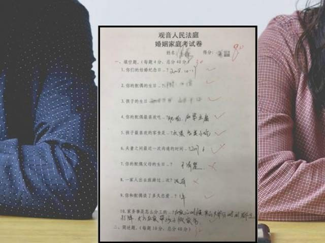 چینی مجسٹریٹ نے طلاق کے خواہشمند جوڑوں کے لیے ایک امتحان تیار کیا ہے جس میں فیل ہونا لازم ہے۔ فوٹو: بشکریہ پیپلز ڈیلی
