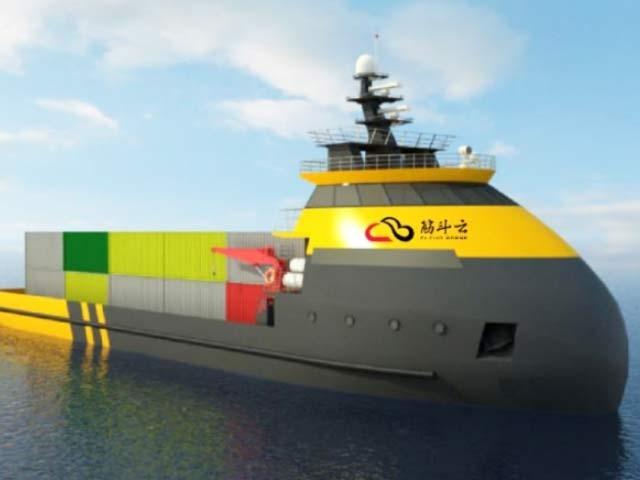 چینی کمپنی کا ڈیزائن کردہ روبوٹ بحری جہاز، جو روبوٹک بحری جہازوں کی تیاری میں چین کی بڑھتی ہوئی دلچسپی کو ظاہر کررہا ہے۔ فوٹو: بشکریہ یونزو ٹیک