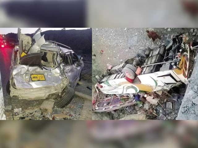 حادثہ اورناچ کراس کراڑو کے مقام پر پیش آیا،تصادم کے بعد کوچ کھائی میں جاگری،کئی زخمیوں کی حالت نازک۔ فوٹو: فائل