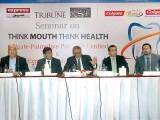 ڈاکٹرمیرون حسین، پروفیسر زمان شیخ، ڈاکٹرعمران ، ڈاکٹر اشعرآفاق اور ڈاکٹرضیا کا خطاب۔ فوٹو: ایکسپریس