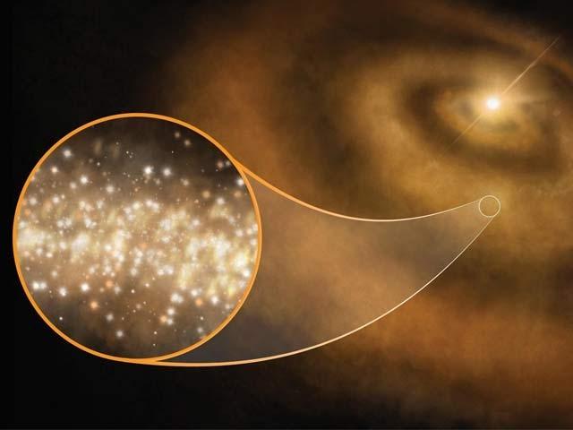 باریک ہیروں سے بھرے بادل اور ستاروں کی ایک فرضی تصویر۔ فوٹو بشکریہ نیشنل سائنس فاؤنڈیشن امریکا