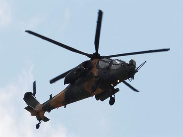 ٹی -129 ہیلی کاپٹر خصوصی طور پر دشمن پر حملےکے لیے تیار کیا گیا، فوٹو: اے اے