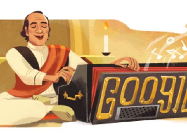 گوگل کا بنایا ہوا ڈوڈل جو شہنشاہِ غزل مہدی حسن کو خراجِ تحسین پیش کرنے کے لیے تیار کیا گیا ہے۔ فوٹو: گوگل