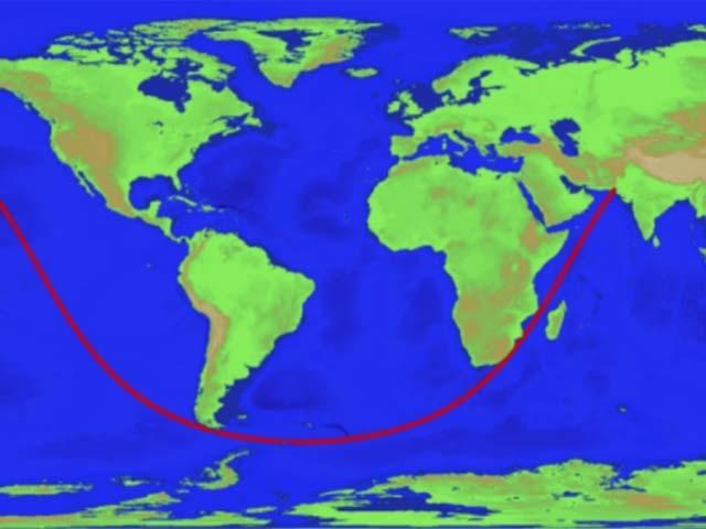 سیارہ زمین پر طویل ترین اور قدرے سیدھا سمندری راستہ پاکستانی علاقے سونمیانی سے شروع ہوکر روس میں ختم ہوتا ہے۔ فوٹو: بشکریہ سائنس الرٹ