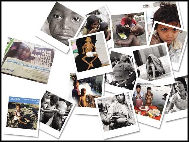 بھوک، افلاس اور مصائب دکھاتی تصاویر سامنے لاکر چندہ جمع کرنے کا چلن۔ فوٹو: فائل