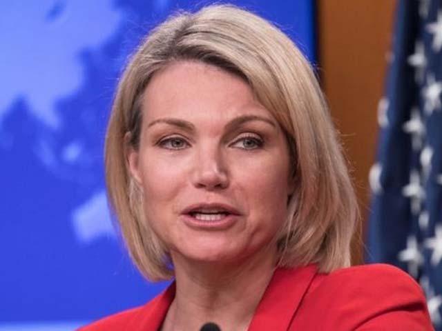 امریکی وزارت خارجہ کی ترجمان پریس بریفنگ دے رہی تھیں۔ فوٹو : فائل