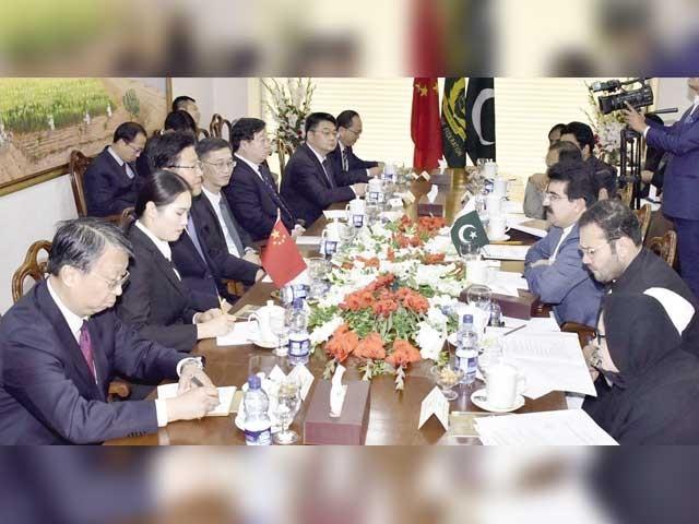 پاکستانی مصنوعات کی چین کوڈیوٹی فری برآمدکے طریقہ کار سے متعلق تبادلہ خیال ہوا۔ فوٹو آئی این پی