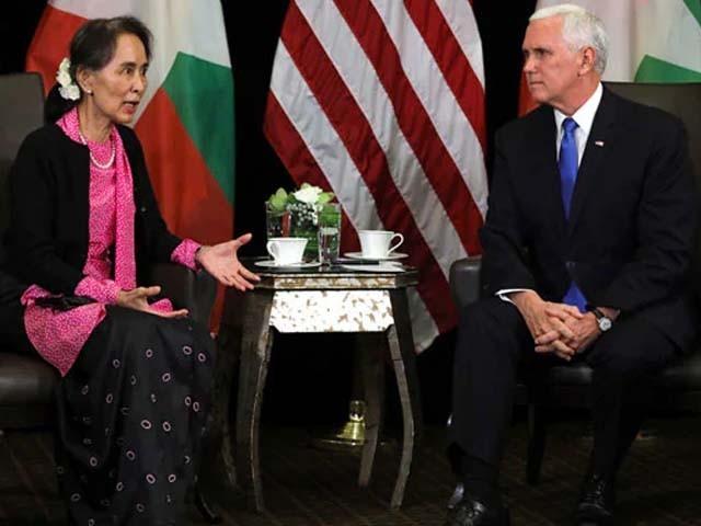 امریکی نائب صدر اور میانمار کی رہنما ایشیا پیسیفک سمٹ کے دوران ملاقات کی۔ فوٹو : فائل