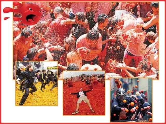 تفریح کے لئے اٹلی میں سنگترہ استعمال کیا جاتا ہے تواسپین کے شہر ویلنسیا میں اس مقصد کے لئے ٹماٹر کواستعمال کیاجاتا ہے۔ فوٹو: فائل