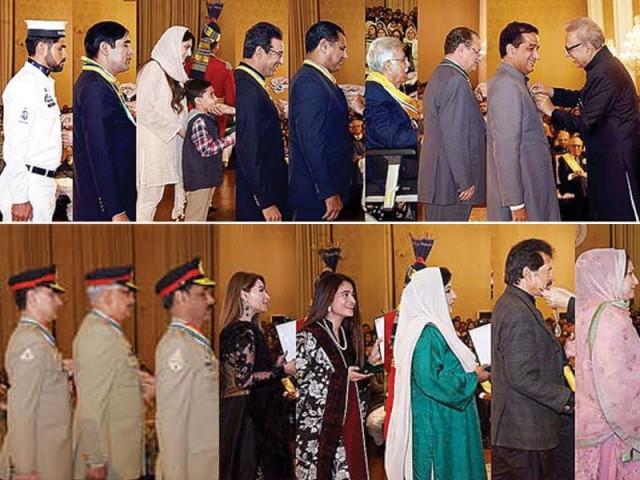 وسیم اکرم، وقار یونس، اقبال علی لاکھانی، صدرالدین ہاشوانی بھی اعزازات پانے والوں میں شامل ۔ فوٹو : پی آئی ڈی