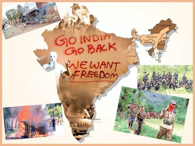 شمال مشرقی بھارت کی ریاستوں میں جاری علیحدگی پسند تحریکیں۔ فوٹو: فائل