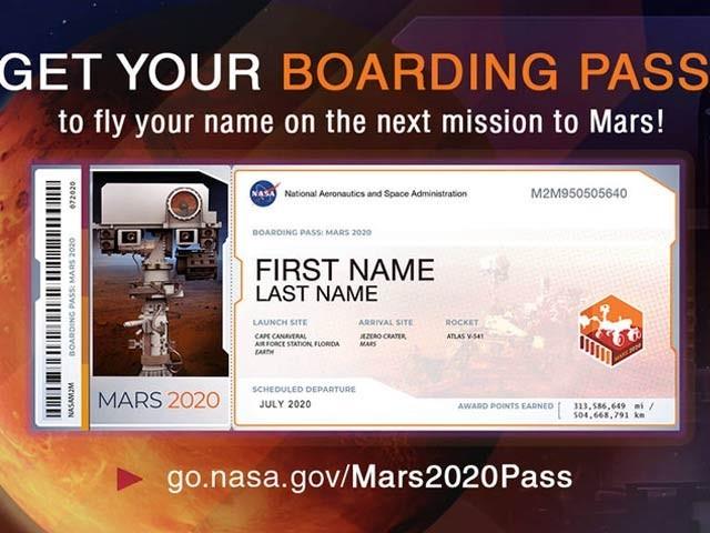 ناسا نے اپنے جدید خلائی جہاز کو مریخ پر بھیجنے سے قبل دنیا بھر کے لوگوں کو مریخ بورڈنگ پاس حاصل کرنے کی دعوت دی ہے۔ فوٹو: بشکریہ ناسا