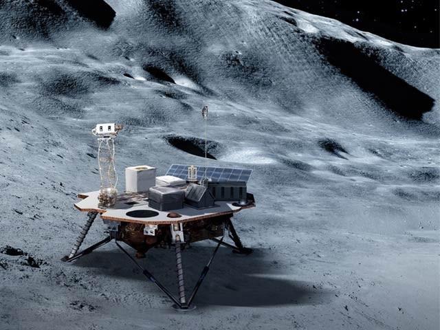 ناسا نے تین کمپنیوں کو چاند پر سازوسامان پہنچانے کا ٹھیکہ دیا ہے۔ فرضی تصویر میں ایک خلائی جہاز کو چاند کی سطح پر دیکھا جاسکتا ہے۔ فوٹو: ناسا