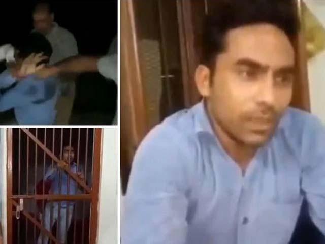 صحافی امیت شاہ پٹری سے ٹرین اترنے کے حادثے کی ویڈیو بنانا رہا تھا۔ فوٹو : ویڈیو گریب