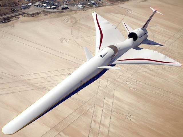 ناسا کا ڈیزائن کردہ نیا ایکس 59 طیارہ جس کا کاک پٹ درمیان میں ہے اور یہ سپرسانک ہونے کے باوجود سونک بوم کی ہولناک آواز پیدا نہیں کرے گا۔ تاہم ابھی یہ منصوبہ صرف کاغذوں پر ہی ہے۔ فوٹو: بشکریہ ناسا
