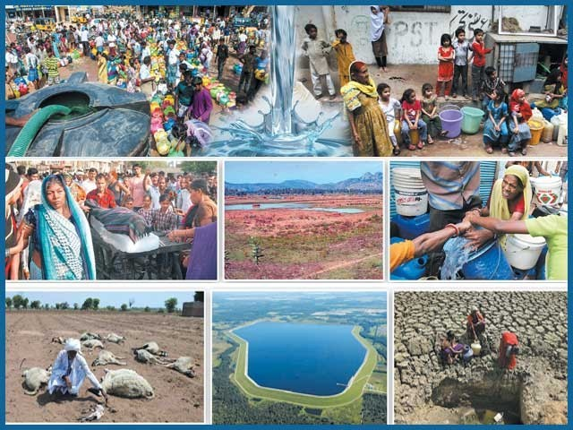 بڑھتی آبادی ،پانی ضائع کرنے کی منفی روش اور عالمی سطح پر موسمیاتی تبدیلیاں بھارت اور پاکستان کے کروڑوں باشندوں کو قلت ِآب کی ہولناک آفت میں مبتلا کر رہی ہیں۔ فوٹو: فائل