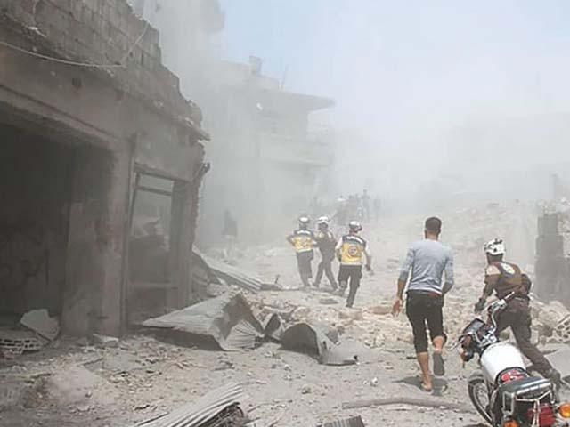 حکومتی فورسز نے طبی مراکز پر بھی بمباری کی۔ فوٹو : ٹویٹر