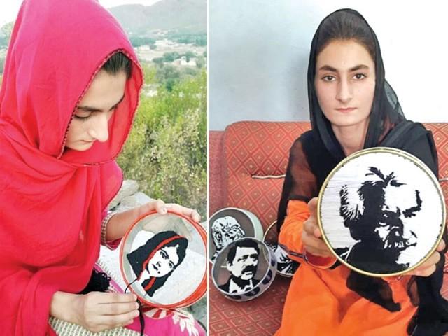 الماس خانم ایدھی، باچا خان اور ملالہ یوسفزئی جیسی شخصیات کی تصاویر بنا چکی ہیں۔ فوٹو: ایکسپریس
