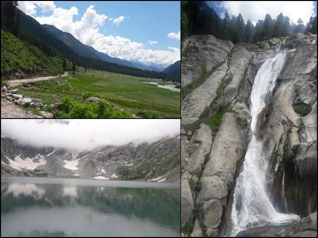 وادی کمراٹ کے مقبول سیاحتی مقام سراج آبشار، کالا چشمہ ہیں۔ (تصاویر: بلاگر)