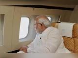فروری کے بعد پہلی مرتبہ بھارتی وزیر اعظم کے جہاز نے پاکستانی فضائی حدود استعمال کی ہے (فوٹو: بھارتی میڈیا)