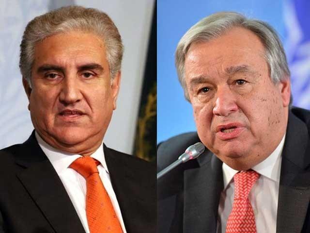 وزیرخارجہ نے انٹونیو گوٹیریز کو مقبوضہ کشمیر میں جاری انسانی حقوق کی سنگین خلاف ورزیوں سے آگاہ کیا