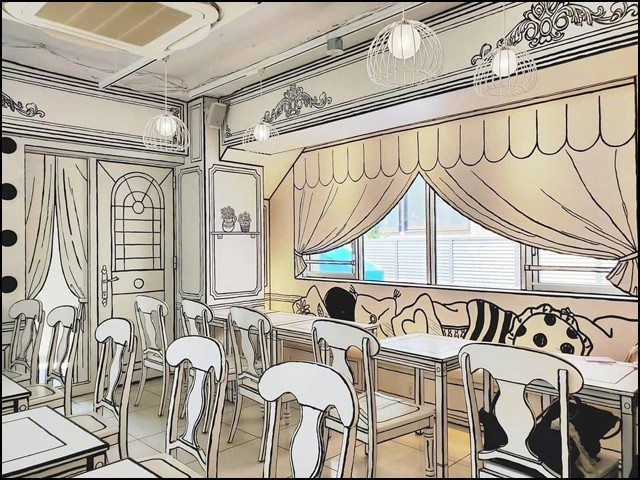 اس ریستوران میں تمام چیزیں اس انداز سے ڈیزائن کی گئی ہیں کہ وہ کاغذ پر بنے اسکیچ کی طرح نظر آتی ہیں۔ (تصاویر: سوشل میڈیا)