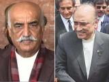 احتساب عدالت میں پیشی کے موقع پر آصف زراری اور خورشید شاہ کی مختصر ملاقات