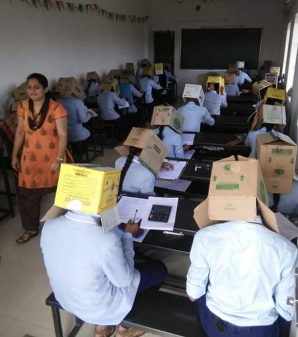 Kernataka student wear carton during exam 1