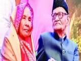 نارائن سنگھ اپنی 101 ویں سالگرہ کے موقع پر اہلیہ کے ہمراہ ۔ فوٹو : بھارتی میڈیا