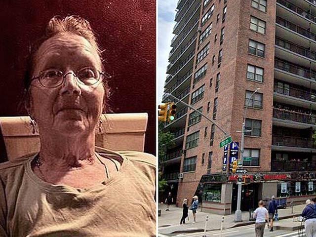 باربرا ہیلر بائیں جانب دکھائی دے رہی ہیں اور دائیں جانب وہ عمارت جس کی ساتویں منزل سے وہ گری ہیں (فوٹو: ڈیلی میل)