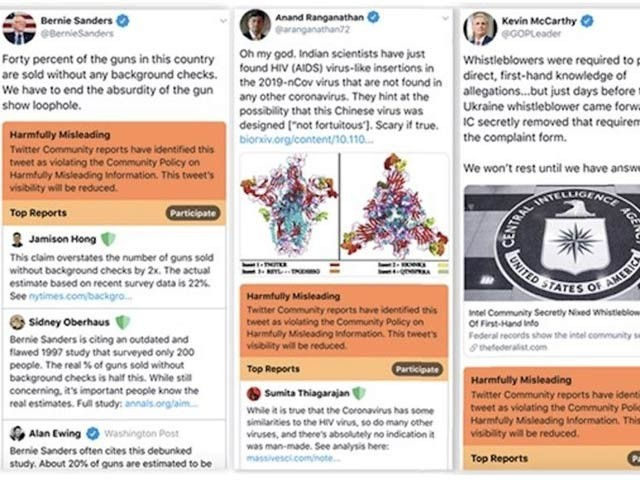 ٹویٹر نے مشکوک اور غلط بیانی والے ٹویٹس کے نیچے نارنجی اور سرخ رنگ کے ٹیگ لگانے کا تجربہ کیا ہے (فوٹو: سوشل میڈیا ٹوڈے)