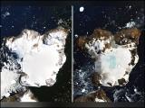 یہ تصاویر انٹارکٹیکا کے ایک جزیرے ''ایگل آئی لینڈ'' کی ہیں جو بالترتیب 4 اور 13 فروری کو مصنوعی سیارے سے کھینچی گئی ہیں۔ (فوٹو: ارتھ آبزرویٹری، ناسا)