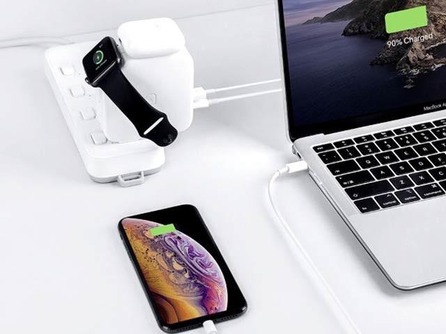 واٹس شوگرچارجر ایک ہی وقت میں ایپل کی تمام مصنوعات کو چارج کرسکتا ہے۔ فوٹو: کِک اسٹارٹر
