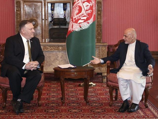 امریکی وزیر خارجہ نے صدر اشرف غنی اور عبداللہ عبداللہ سے ملاقاتیں کیں، فوٹو : افغان میڈیا