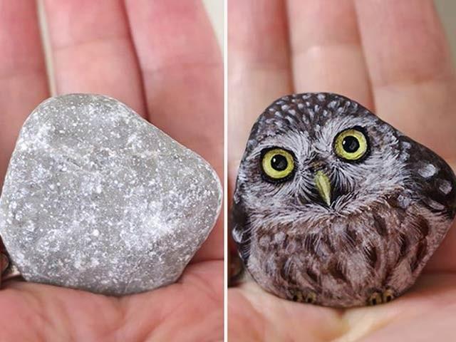 جاپانی فنکارہ بے ہنگم پتھروں کو جانوروں کی تصویر میں ڈھالتی ہیں۔ فوٹو: بورڈ پانڈا