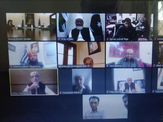 ویڈیو لنک کے ذریعے پہلی آل پارٹیز کانفرنس میں پی پی، ن لیگ، متحدہ، جماعت اسلامی، جے یو آئی، بی این پی ودیگر کی شرکت (فوٹو : انٹرنیٹ)