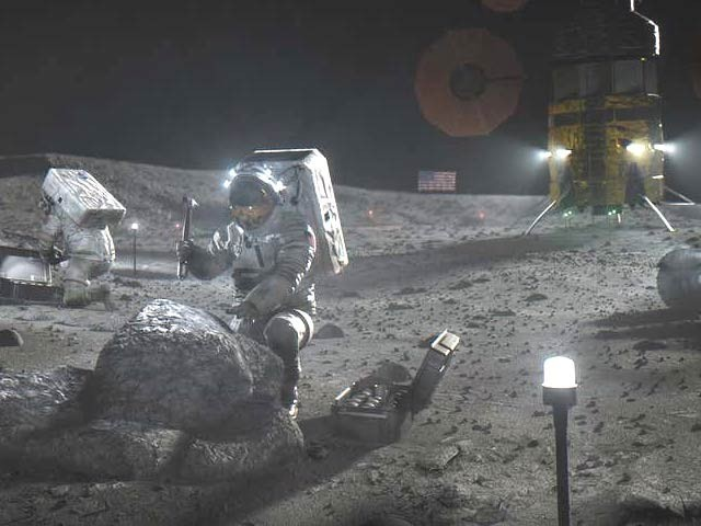 ایک مصور کی بنائی ہوئی تصویر جس میں چاند پر ناسا کے آرتیمس مشن کا ایک فرضی منظر دیکھا جاسکتا ہے۔ فوٹو: نیوسائنٹسٹ