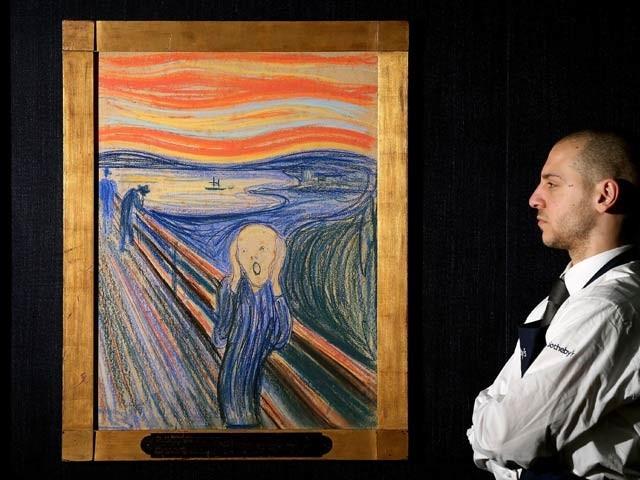 دیوار پر ایڈوارڈ مونک کی مشہور پینٹنگ 'اسکریم' کو دیکھا جاسکتا ہے جو 1910 میں بنائی گئی تھی۔ فوٹو: بشکریہ مونک میوزیم
