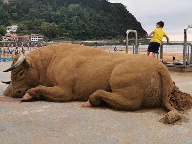 اسپین کے ایندونی باستریکا کا بنایا ہوا ریت کا مجسمہ جو ہوبہو حقیقی دکھائی دیتا ہے۔ فوٹو: فیس بک پیج ایندونی