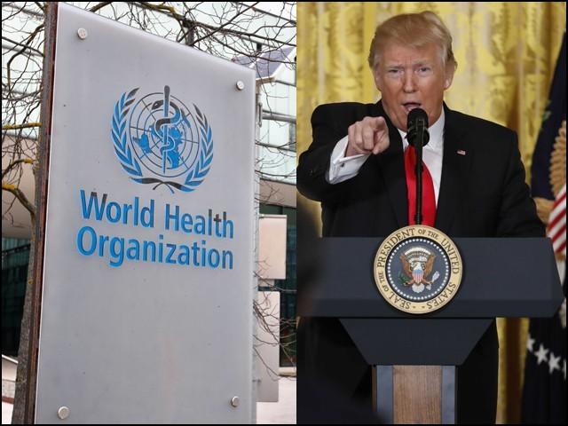 ٹرمپ نے چین پر الزامات کی بوچھاڑ کرتے ہوئے عالمی ادارہ صحت سے تعلق توڑنے کا اعلان کردیا۔ (فوٹو: فائل)