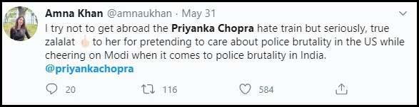 Priyanka silent on Kashmir