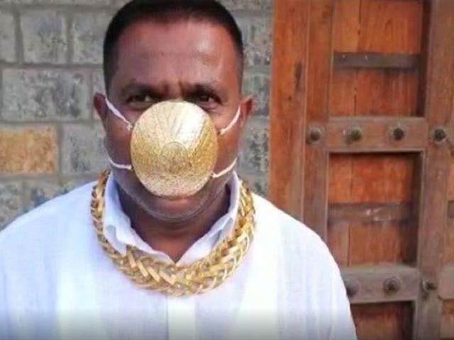 شنکرکرادے کا سونے کے ماسک کی مالیت چار لاکھ روپے ہے۔ فوٹو: انڈیا ٹوڈے