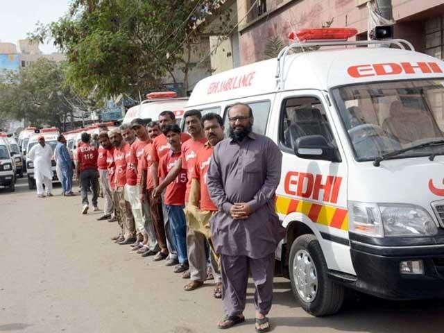ایدھی فاؤنڈیشن کو دنیا کی سب سے بڑی نجی فلاحی ایمبولنس سروس کا اعزاز حاصل ہے۔ فوٹو: فائل