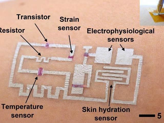 امریکی ماہرین نے پہلی مرتبہ انسانی جلد پر براہِ راست برقیاتی سرکٹ کاڑھنے کا کامیاب تجربہ کیا ہے۔ فوٹو: یونیورسٹی آف ہیوسٹن